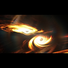 Artists-impression-of-colliding-black-holes