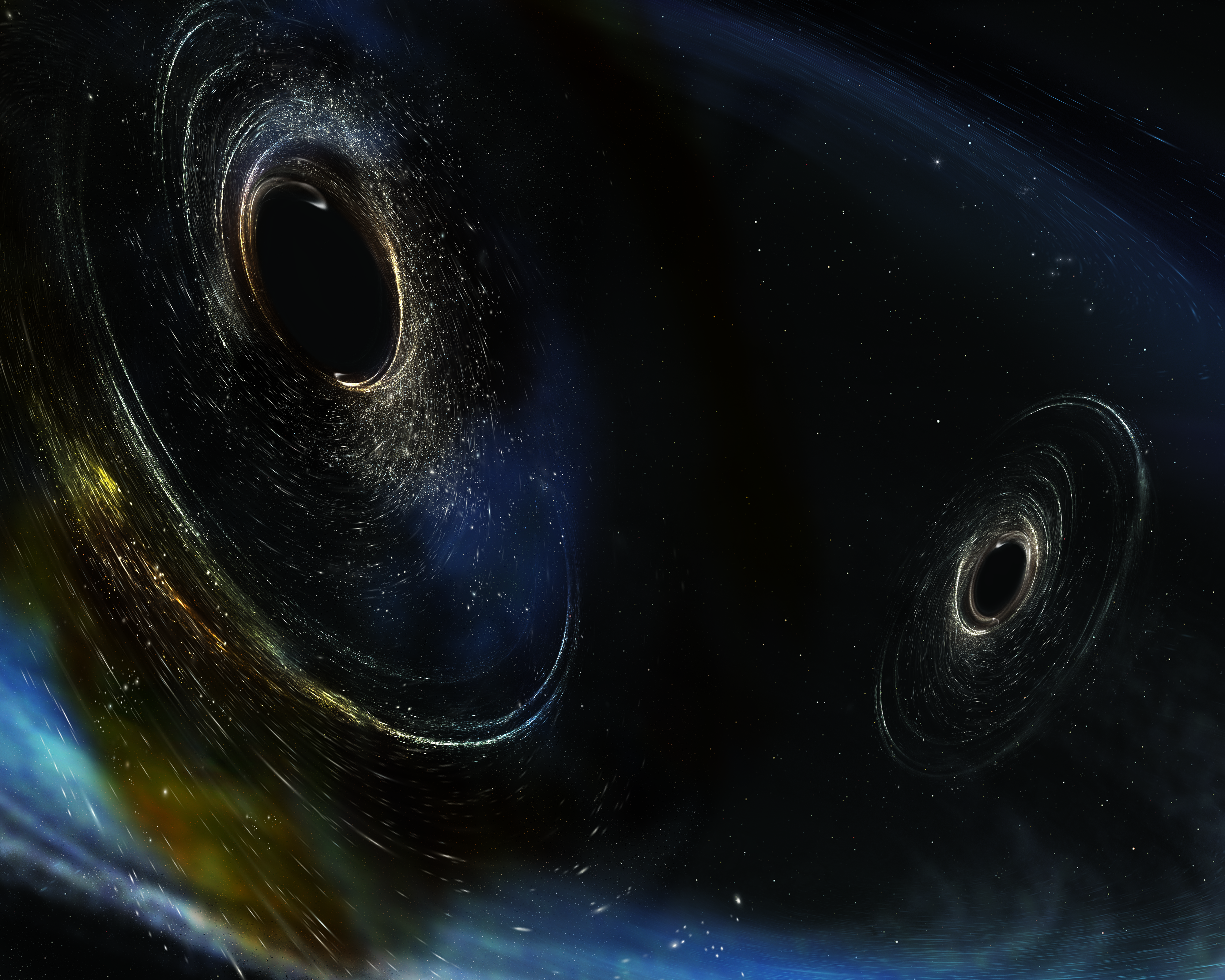 Close Up of Spinning black Holes (artist's conception)