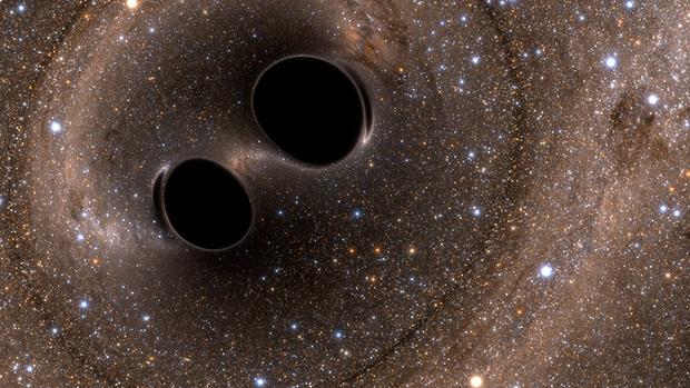 Dos agujeros negros rotando uno sobre otro. Ondas gravitacionales.